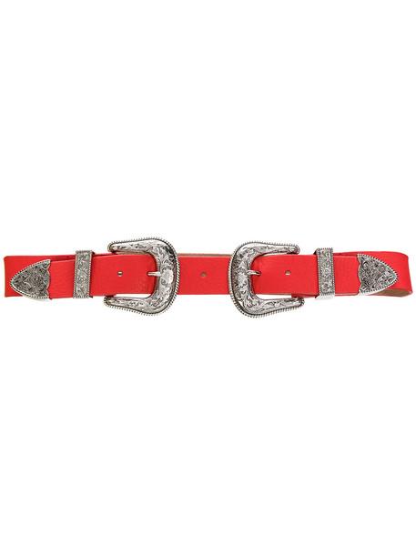 double buckle belt belt red