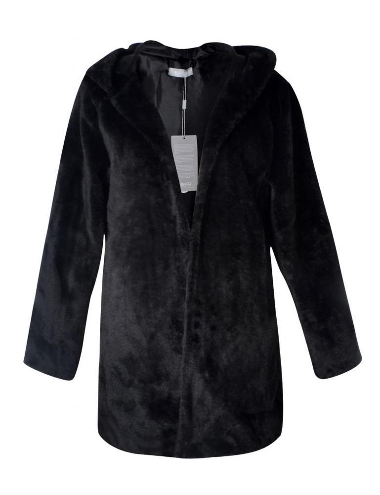 Faux real black fur hooded coat