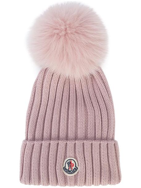 moncler fur fox women hat wool purple pink