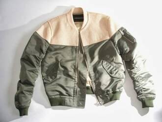 jacket green olive tan nude beige khaki menswear boy tumblr coat bomber jacket dress earphones