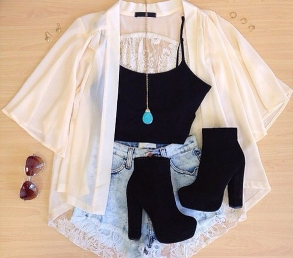 jacket shoes black white short jeans dentelle