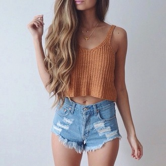 top tank top cropped rose wholesale knitwear crochet crop tops tumblr beige orange shirt love pretty beautiful orange top knitted top