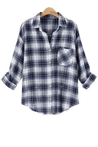 blouse zaful plaid plaid shirt black black shirt black and white shirt black plaid long sleeves