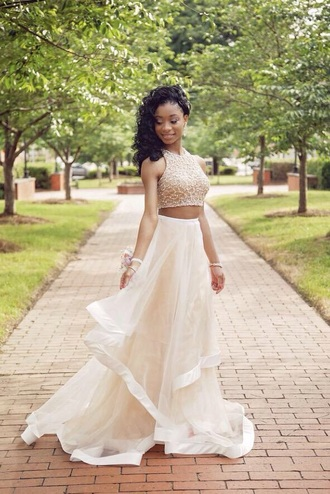 dress glitter dress glitter prom dress prom dress crop tops top long skirt white dress white skirt
