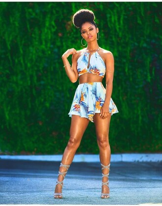 shorts two piece dress set two-piece summer outfits date outfit high waisted shorts crop tops top heels shoes high heels cute top cute high heels sexy shoes earrings hoop earrings strappy heels 5 inch and up halter top set lace up heels black girls killin it romper