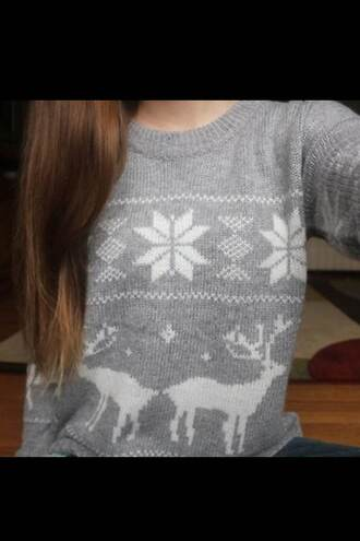 sweater deer pullover christmas winter outfits christmas sweater grey oversized sweater ugly christmas sweater cute aztec christmas sweater tumblr tumblr girl tumblr clothes festive winter sweater snowflake crewneck crewneck sweater tumblr fashion cute cute sweaters cute sweater lovely grey sweater reindeer christmas sweater