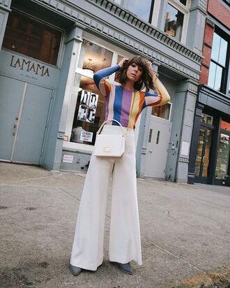 pants white wide-leg pants white bag bag top multicolor