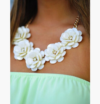 jewels statement necklace flower necklace white spring chain