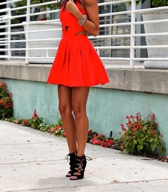 dress red dress short dress cut-out dress fashion style cute dress