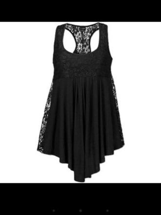 tank top black lace flowy shirt tanktop