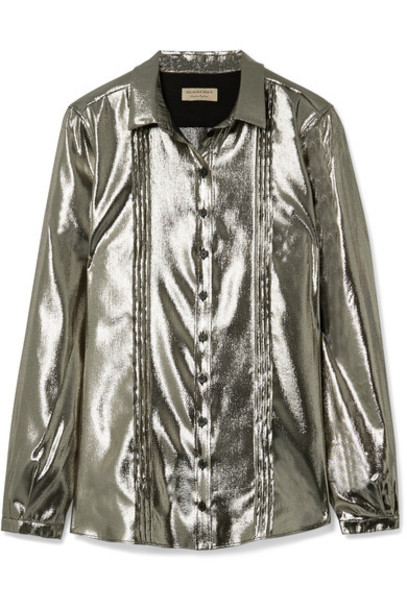 shirt silver silk top