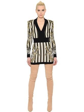 dress mini dress mini knit jacquard v neck gold black