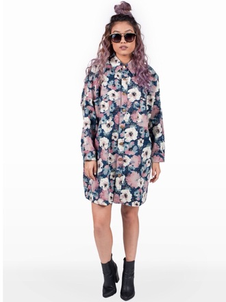 blouse button up floral button up oversized button up button up top