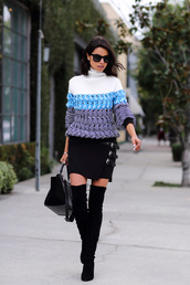 viva luxury,blogger,sunglasses,knitwear,winter outfits,thigh high boots,black skirt,sweater,skirt,shoes,bag,jewels,chunky knit
