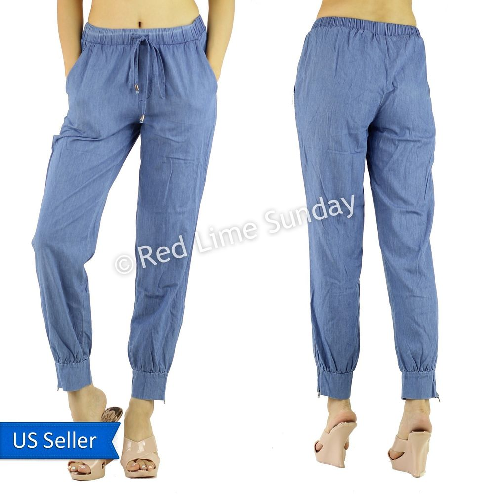 Summer Women Fashion Cool Cotton Blend Drawstring Jogger Pants Bottoms Zip Hem