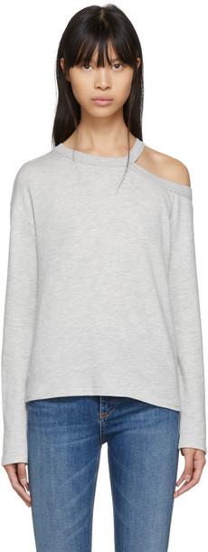 rag and bone t-shirt shirt t-shirt long cut-out grey top