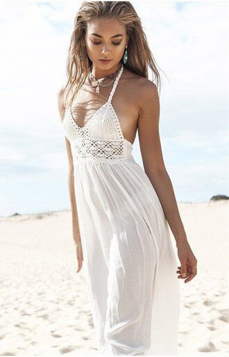 dress girly white white dress maxi maxi dress crochet crochet dress girl girly wishlist