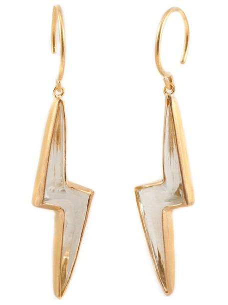 Marie Helene De Taillac earings women pale gold green grey metallic jewels