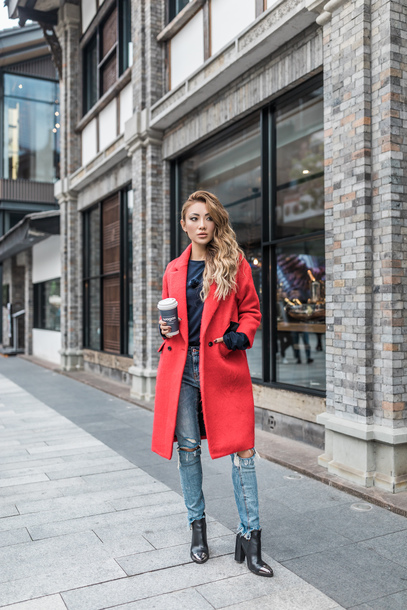 coat tumblr red coat denim jeans blue jeans ripped jeans boots black boots top black top