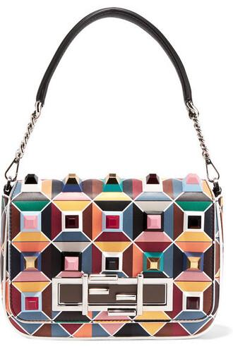 embellished bag shoulder bag leather teal