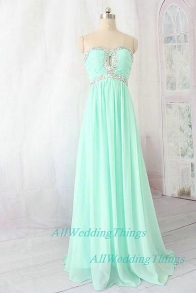 dress mint prom dress
