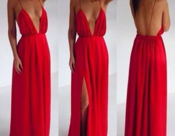 Custom made red backless v neck pro..
