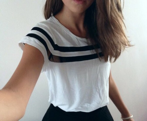 black white black and white stripes striped shirt white t-shirt tumblr shirt tumblr outfit tumblr tumblr top girl shirts girl black shirt black and white shirt