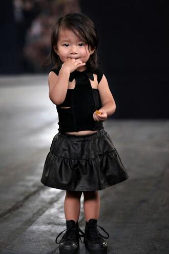 top girl girly cute bandage top leather leather skirt black black sneakers kids fashion fashion aila wang runway