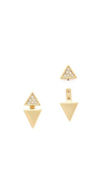 triangle back clear earrings gold jewels