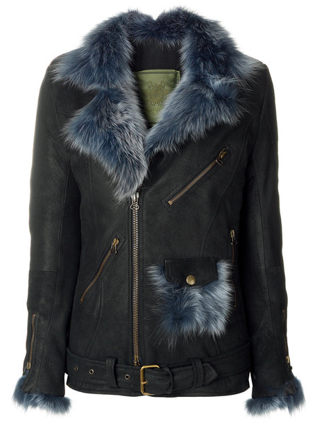 Mr & Mrs Italy jacket biker jacket fur fox women cotton black