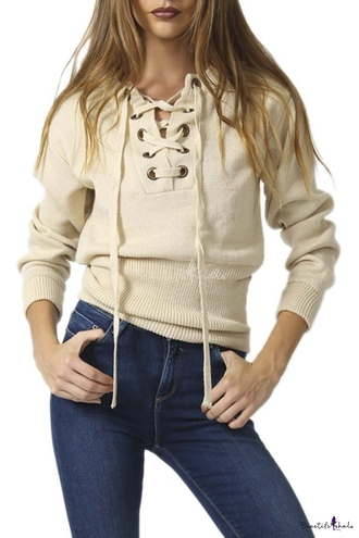 sweater fashion nude lace up pullover cream style long sleeves trendy girly casual beautifulhalo