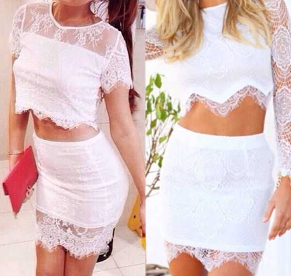 dress white dress skirt crop tops lace white white crop tops