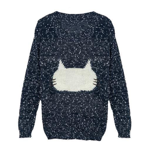 Blue Jacquard Pattern Fluffy Cat Sweater