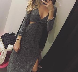 dress silver sparkle grey