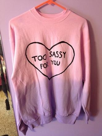 sweater pink heart quote on it purple black heart sweater