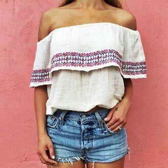 shirt embroidered embroidered shirt white shirt denim denim shorts shorts summer outfits boho shirt boho off the shoulder aztec aztec pattern shirt boho chic