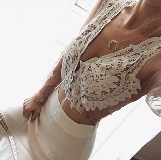 blouse fashion toast fashion vibe fashion fashion is a playground kylie jenner jumpsuit white lace boho dress long sleeves crop tops deep v v neck transparent sheer white blouse outfit tumblr outfit