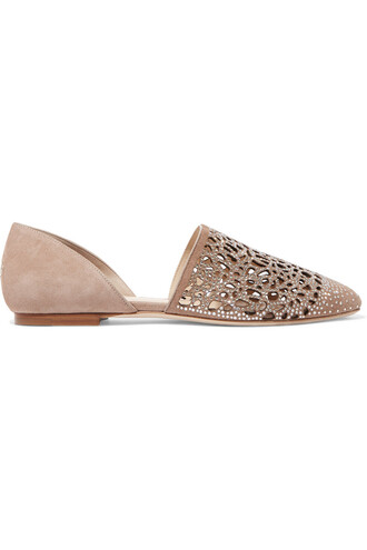embellished flats suede taupe shoes
