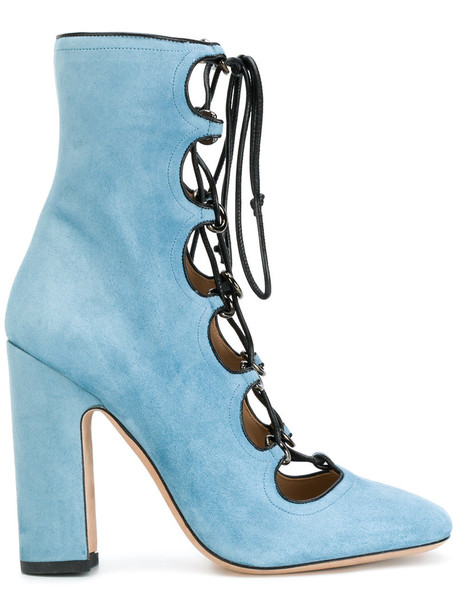 Valentino women ankle boots leather blue shoes