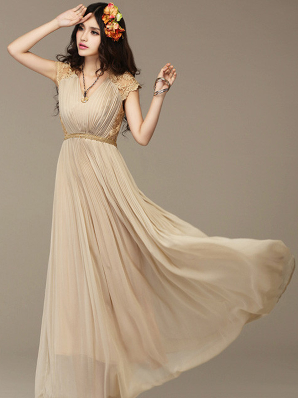 Long V Neck Casual Lace Dress With Belt : KissChic.com