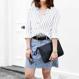 skirt tumblr mini skirt denim skirt belt bag black bag pouch shirt stripes striped shirt sunglasses black sunglasses necklace gold necklace jewels gold jewelry