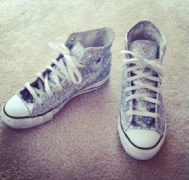 shoes coverse chuck taylor all stars high tops silver sparkle