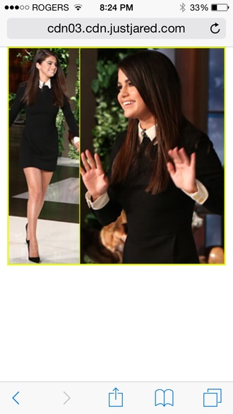 celebrity style selena gomez black dress style fashion pretty sleeves white black dress collar collared collared dress