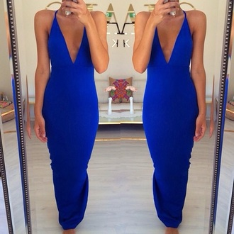 dress royal blue dress v neck dress maxi dress
