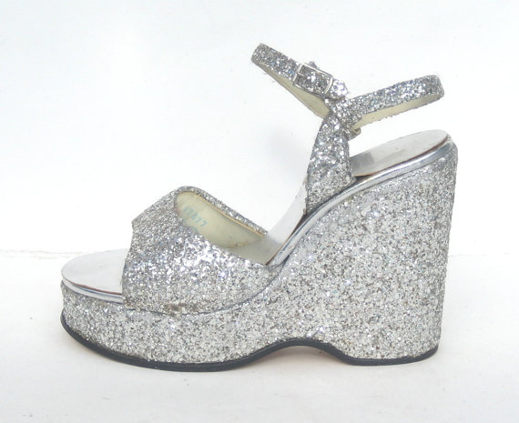 size 7.5 / dazzling 1970s silver wedge by SplendoreBoutique