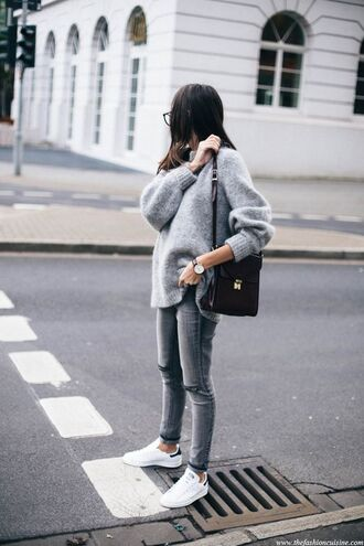 sweater grey sneakers black bag street style outfit look all grey outfit all grey everything grey sweater grey jeans jeans tumblr bag shoulder bag low top sneakers shoes ripped grey jeans white adidas sneakers blogger