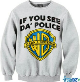 sweater warner brothers police grey sweater