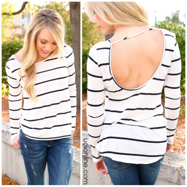 top stripes cut-out open back horizontal stripes