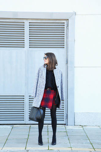 seams for a desire blogger grey coat flannel red skirt black bag