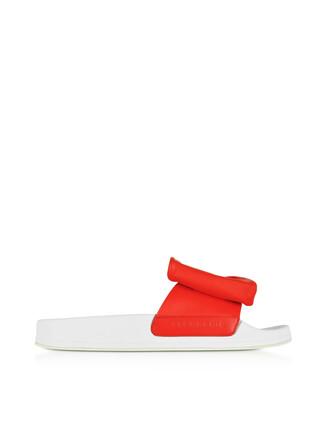 blood sandals leather white orange shoes
